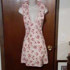 Vintage Apron, pink flowers w/pocket